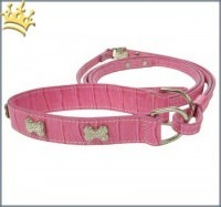 Halsband mit Leine Two in one pink