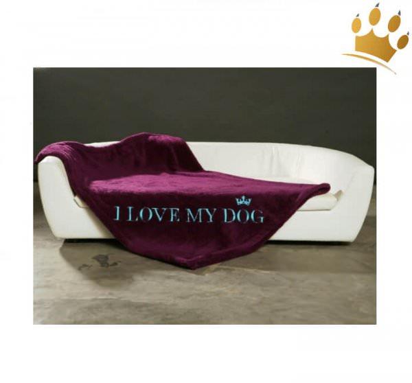 Hundedecke I Love my Dog Pflaume/ Petrol