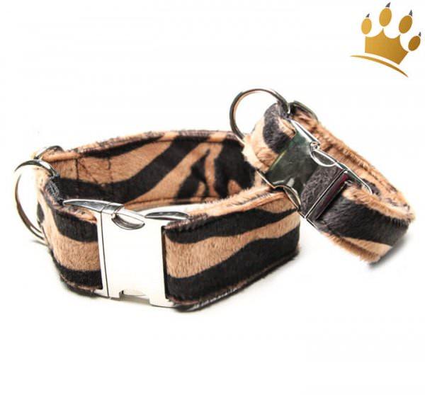 Hundehalsband Fell Zebra Braun