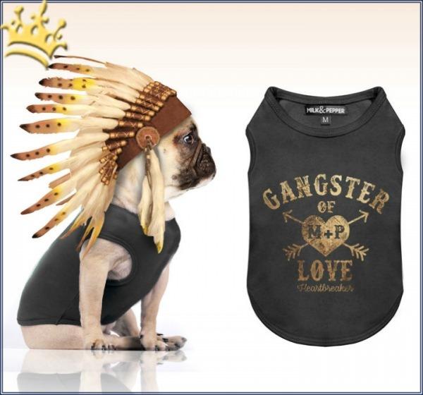 Milk & Pepper Hunde-T-Shirt Gangster of Love