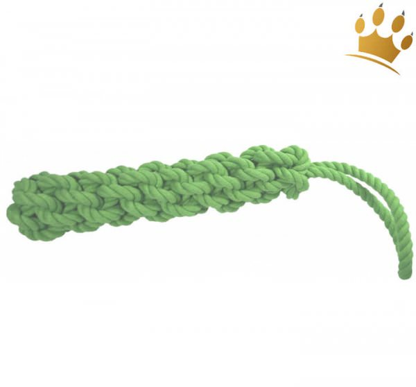 Tauspielzeug geflochten mit Schlaufe Grün