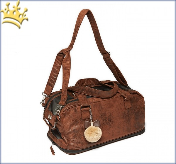 Hundetasche St. Tropez Deluxe Vintage Brown Chrystal Bow Brown Inlay Caramel