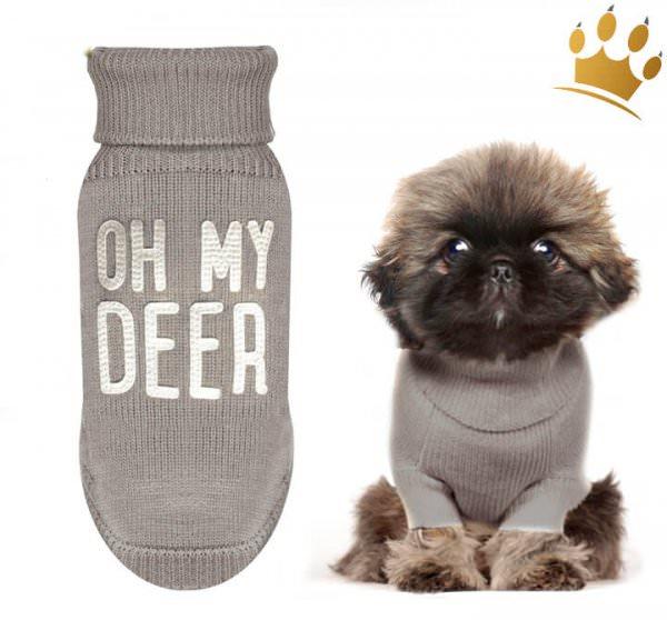 Milk & Pepper Hundepullover Deer Taupe