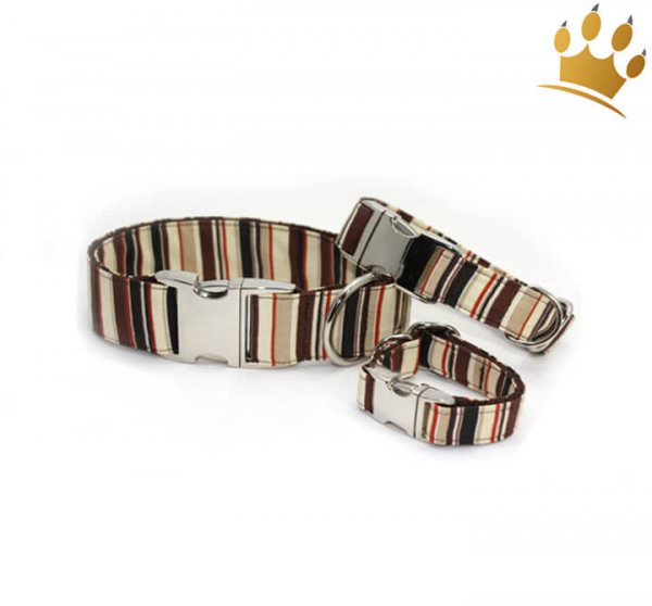 Hundehalsband Cappuccino Stripes