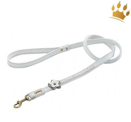 Hundeleine Dosha Dog Flower White