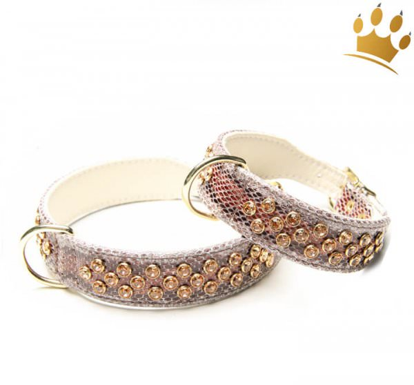 Hundehalsband Luxury Monroe Snake Cappucino