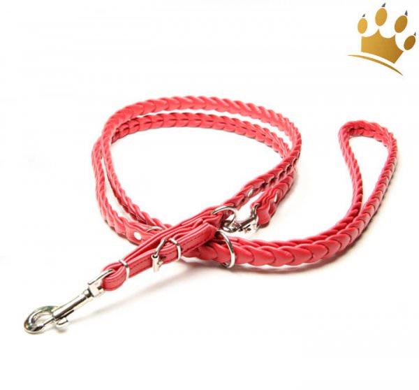 Hundelederleine geflochten Ascot Rot