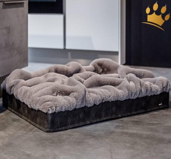 Hundebett mit Decke Steingrau