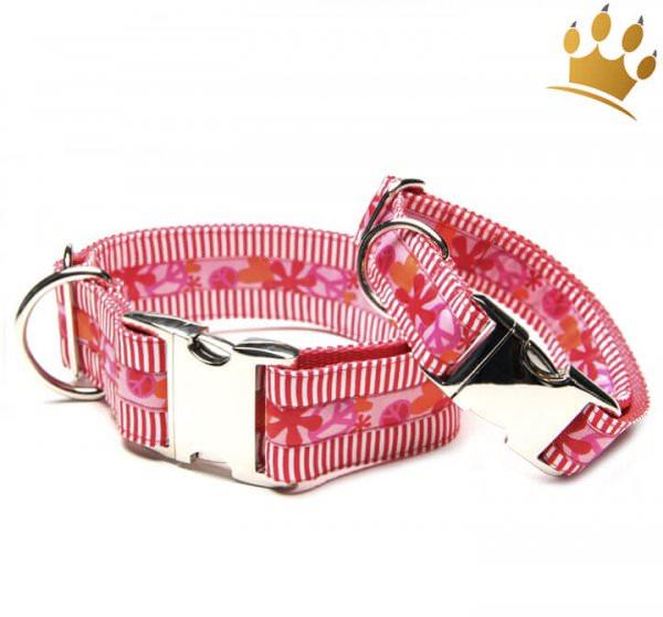 Hundehalsband Big Peace Rot