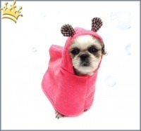 Hundebadecape Pink