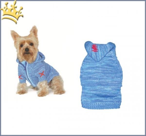 Hundepullover Hoodie Cross Blau