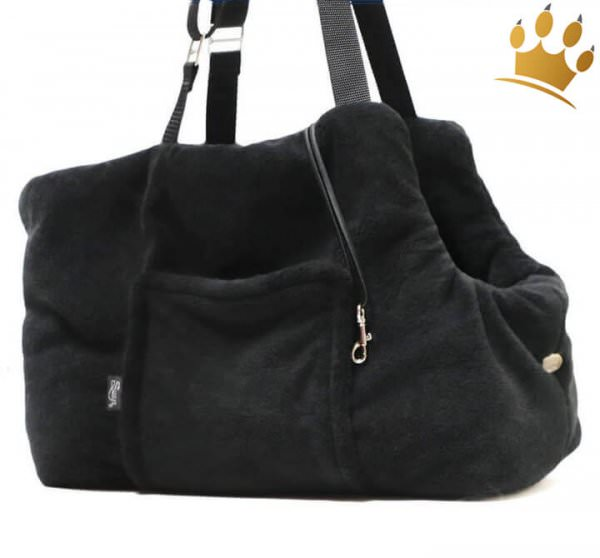 exklusive Suzys Hundetasche Schwarz Webpelz Chihuahua - Mops