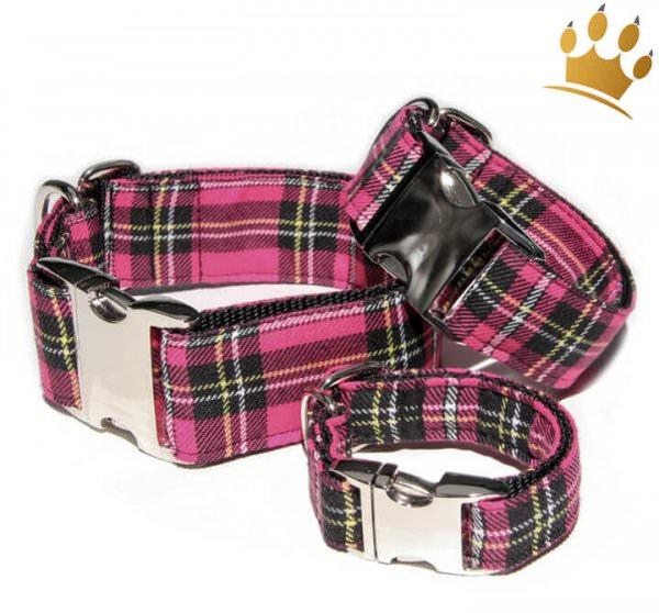 Hundehalsband Tartan Pink