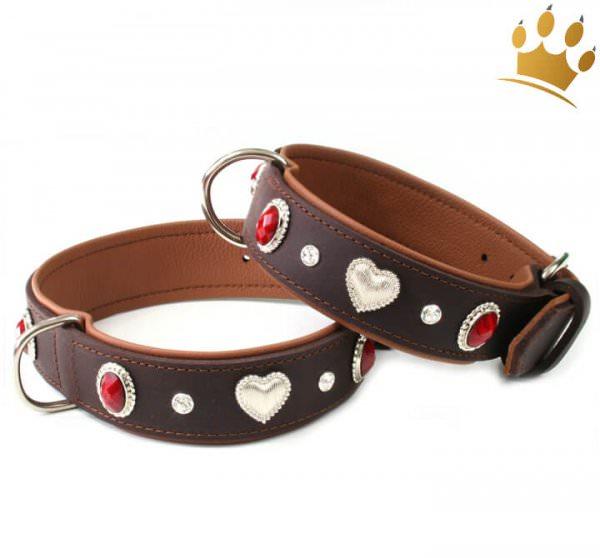 Hunde-Lederhalsband Silver Heart Rot