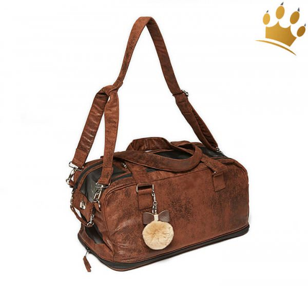 Hundetasche St. Tropez Deluxe Vintage Brown Chrystal Bow