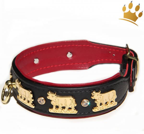 Hundehalsband Lucky-Muh Schwarz