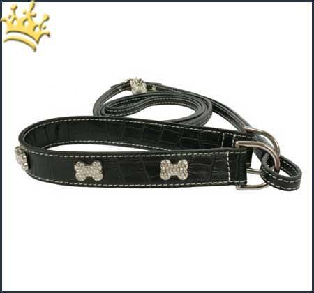Halsband mit Leine Two in one black