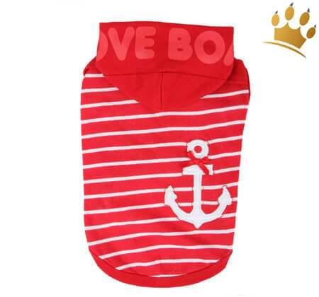 Puppia Kapuzenshirt Love Boat Rot