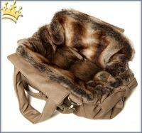 TG&L Hundetasche Carrybag Monte Carlo Beige Nubukoptik Chinchilla Braun
