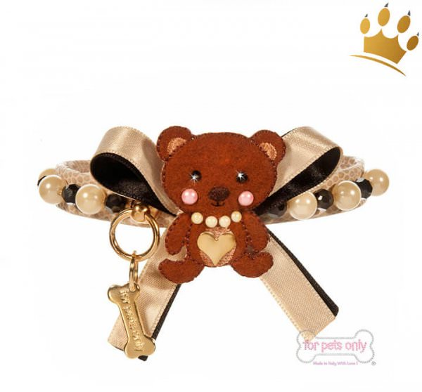 For Pets Only Hundehalsband Cream Bear Beige Lizard Gold