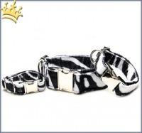 Fellhalsband Zebra Schwarz Deluxe