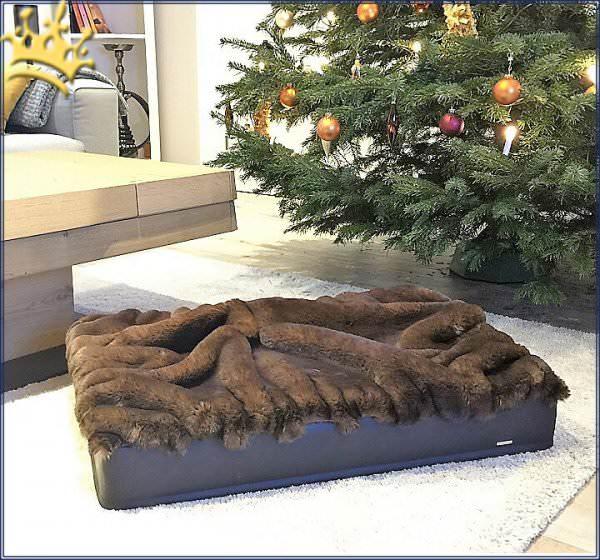 Hundebett mit Buddelbett Decke Braun