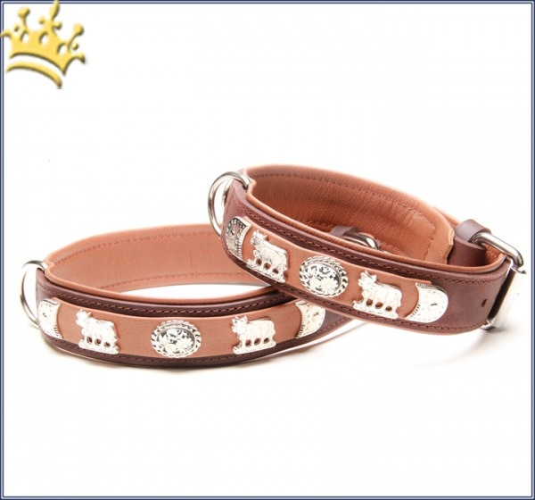 Hunde-Lederhalsband Tiroler Flair Braun