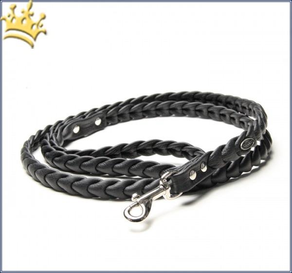 Hundeleine Leder Schwarz geflochten 115cm