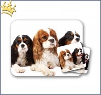 Mousepad & Untersetzer King Charles Spaniel 3er-Set