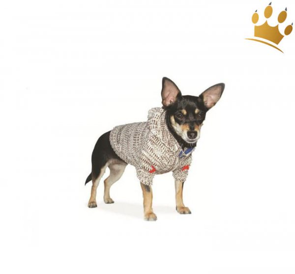Hundepullover Hoodie Cross Braun
