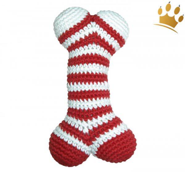 Hundespielzeug Häkel-Knochen Rot-Weiß