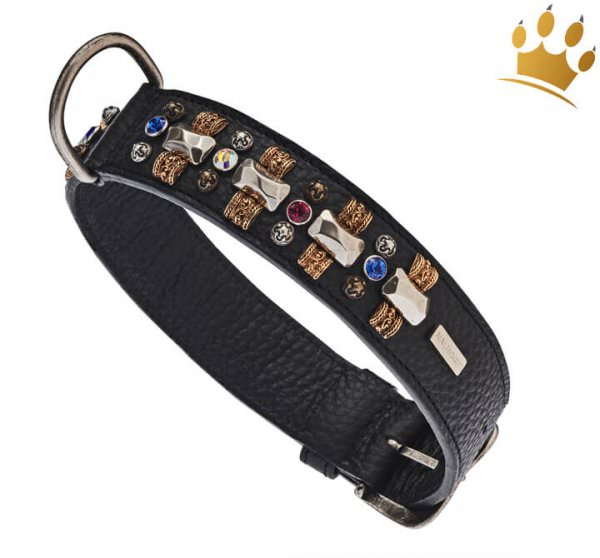 Malucchi Hundehalsband Petra 4cm Schwarz