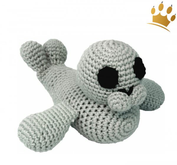 Hundespielzeug Robbe gehäkelt Grau