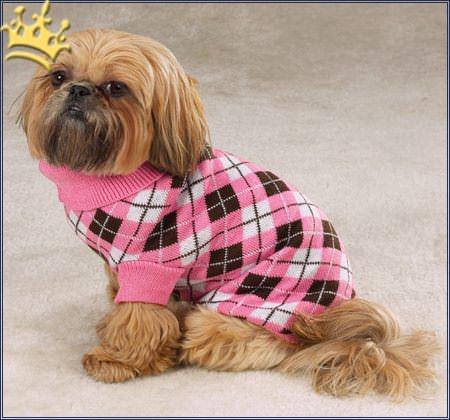 Hundepullover Argyle Pink