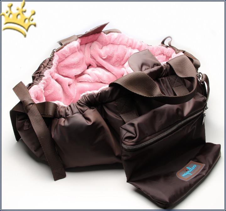 napidoo by marys nap round braun pl sch rosa hundetasche. Black Bedroom Furniture Sets. Home Design Ideas