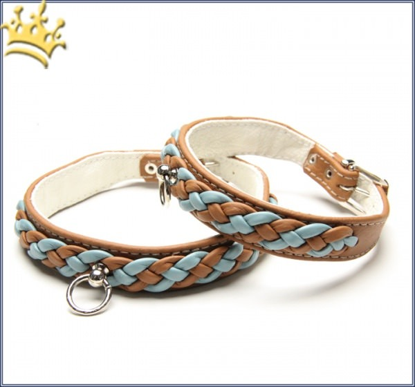 Hundehalsband Empire Double Blue-Cognac