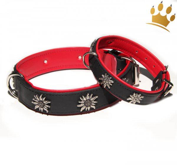 Hundehalsband Edelweiß Tirol Schwarz/Rot