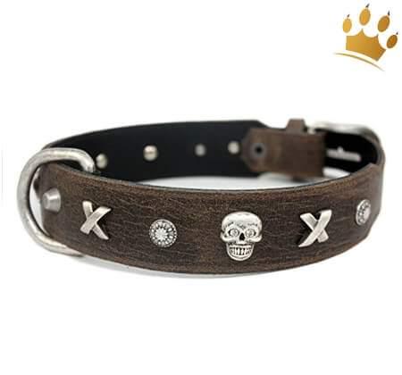 Lederhalsband Piraten Antik Braun