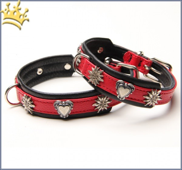 Hunde-Lederhalsband Tirol Schwarz / Rot Petit