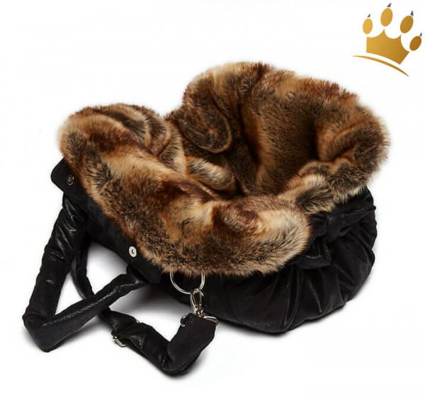 TG&L Hundetasche Bellagio  Vintage Black Chinchilla Braun