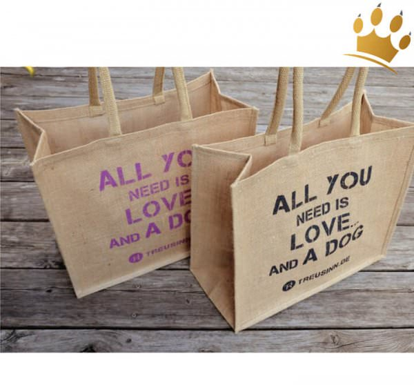 Eco Shopper Jute - All you need is love and a dog