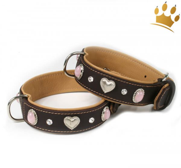 Hunde-Lederhalsband Silver Heart Pink