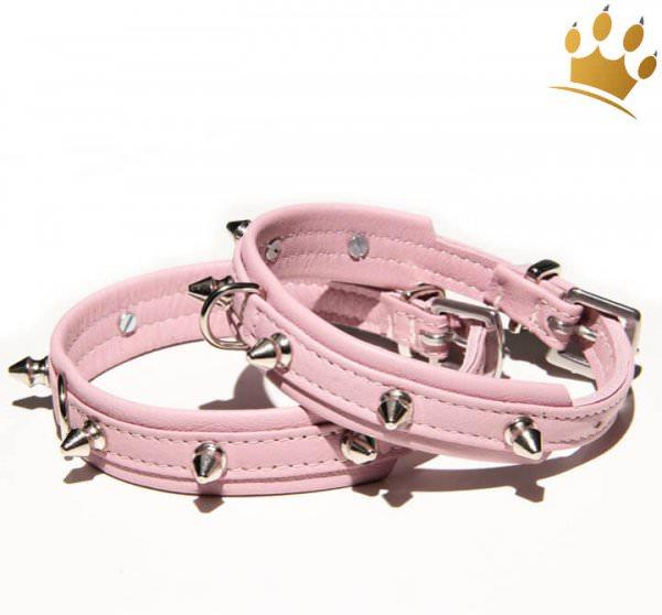 Hundehalsband Mini Spike Rosa