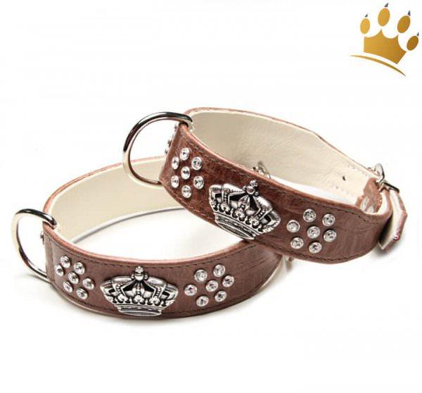 Hundehalsband Crown Deluxe Kroko Braun
