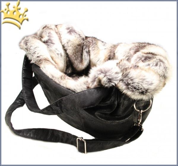TG&L Hundetasche Carrybag Vintage Monte Carlo Black Chinchilla Silber